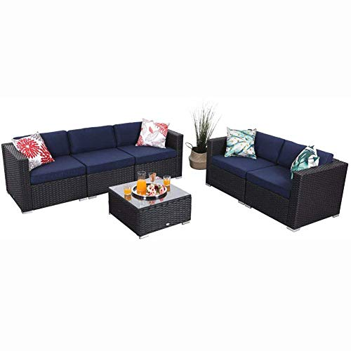 PHI VILLA 6 Pieces Outdoor Patio Furniture Sets - All Weather Patio Rattan Sectional Sofa Set with Cushions and Glass Table (Blue)