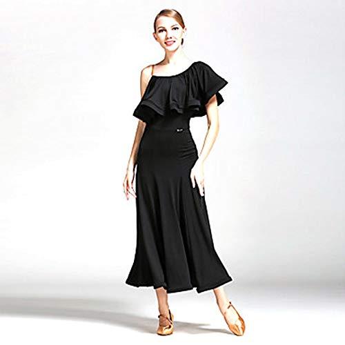 DKee Vestido de Ballet Vestidos De Baile Vestidos for Mujer Rendimiento Fibra De Leche Volantes Vestido Natural Un Hombro Rojo/Negro (Color : Black, Size : XXL)