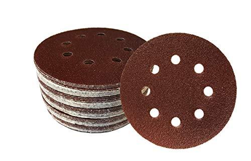 50 discos de lija con velcro, diámetro de 125 mm, grano 180, para lijadora excéntrica, 8 agujeros