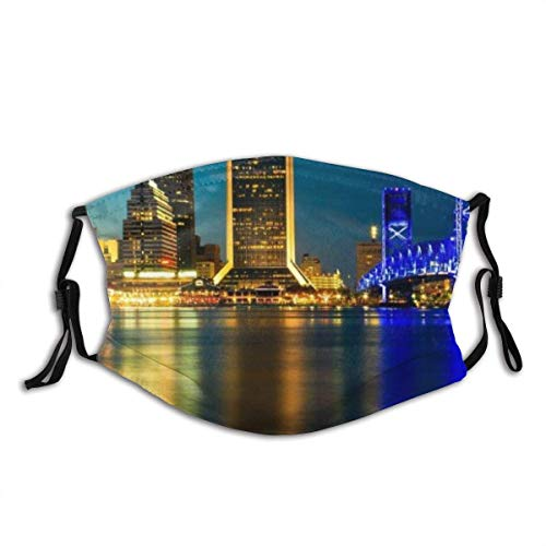 Face Scarf Jacksonville with Golden and Blue Light at Night Balaclava Unisex Reusable Windproof Anti-Dust Mouth Bandanas Outdoor Camping Motorcycle Running Neck Gaiter with 2 Filters