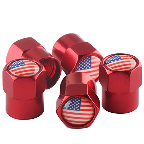 5Pack Tire Stem Valve Caps, Red Hexagon Lightweight Aluminum Alloy, Waterproof tire Valve Cap with Rubber Ring,fits Car,Bike,,Truck (American Flag) (Red)