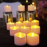 Battery Operated LED Tea Lights, Flameless Votive Tealights Candle with Warm Amber Flickering Bulb Light,Pack of 24,Small Electric Fake Tea Candle Realistic for Wedding, Table,Outdoor,Gift