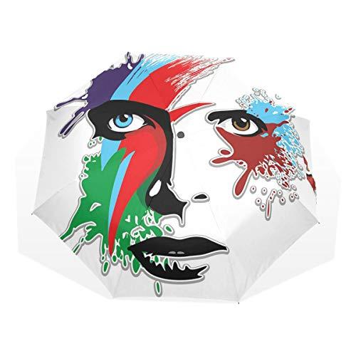 LASINSU Regenschirm,Bowie's Eyes Ziggy Stardust Expression inspiriert Artwork Bunte Spritzer,Faltbar Kompakt Sonnenschirm UV-Schutz Winddicht Regenschirm