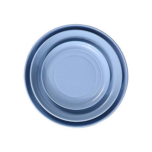 QINGGANGLING999 Vajilla Completa Placas de Cena de Paja de Trigo ecológico BPA Free Microondavable Safe Biodegradable Saucer Placas Vajilla (Color : Blue, Plate Size : 6 Inches)