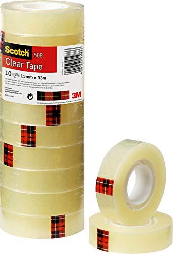 Scotch 3M 5081533 Klebeband Transparent 508, PP, Bandgröße (L x B): 33 m x 15 mm, 10 Rollen