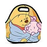 Yuanmeiju bolsa del almuerzo Winnie The Pooh Holding Piglet Portable Insulated bolsa del almuerzo Reusable Thermal Lunch Tote Handbags Men Women Adult Kids For Work Outdoor Travel Picnic