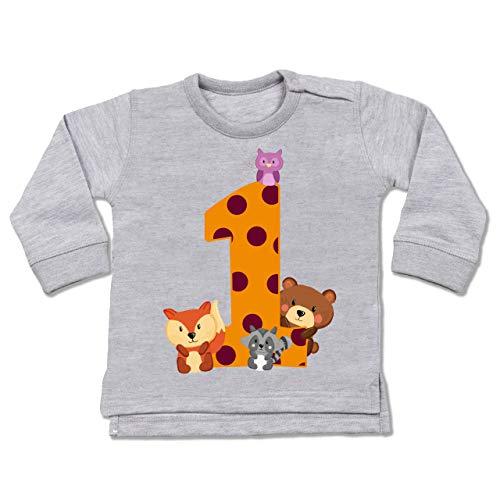 Shirtracer Geburtstag Baby - 1. Geburtstag Waldtiere - 6/12 Monate - Grau meliert - erster Geburtstag - BZ31 - Baby Pullover