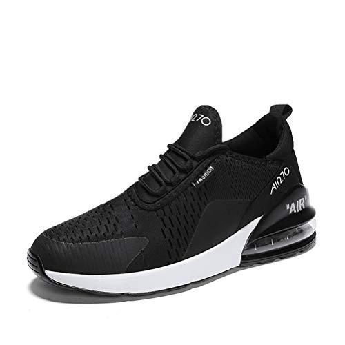 Zapatillas de Deportes Hombre Mujer Zapatos Deportivos Aire Libre para Correr Calzado Sneakers Running 12BlackWhite34EU