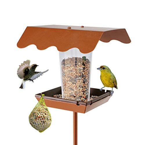 LIMEIDE Goodeco Wild Bird Feeder with stake for Garden Yard Outside,Pole Bird feeder Stand on Ground, Poles in Backyard Garden, Patio,Gift idea for Parents and nature lovers,136cmH (Square)