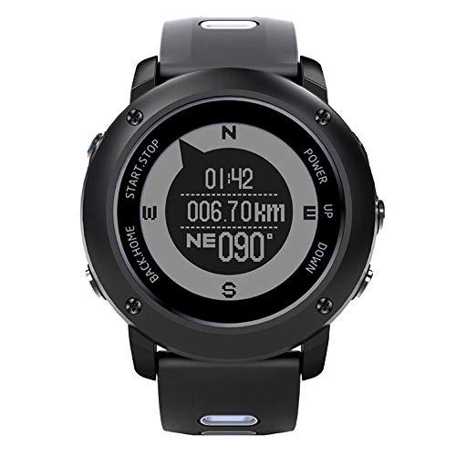 LQQZZZ Outdoor Intelligente Watch, Uomo Militare Tattico Intelligente Orologio GPS Posizionamento Frequenza Cardiaca di Sport del Monitor modalità 5ATM Impermeabile Compass,A