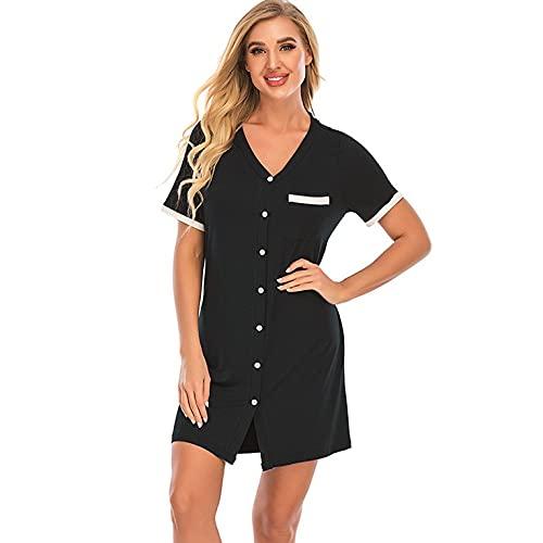 QiKun-Home Dames Nachthemd met knoopsluiting Nachthemd met korte mouwen Dames Slaapkleding Zachte nachtkleding V-hals Sleepdress zwart S