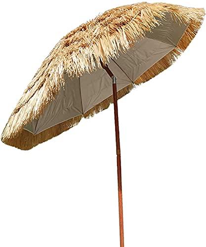 Awningcranks Sombrilla Terraza JardíN Parasol con Techo de Paja 1.8M Paraguas de jardín de Patio para Playa Cafetería Pesca Camping Portátil Impermeable