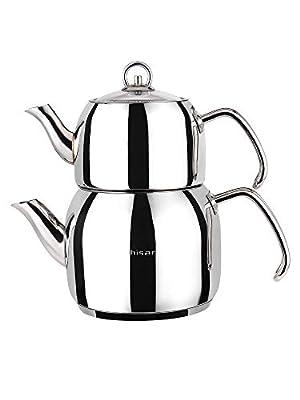 Hisar Mercury Turkish teapot, Medium, Stainless Steel