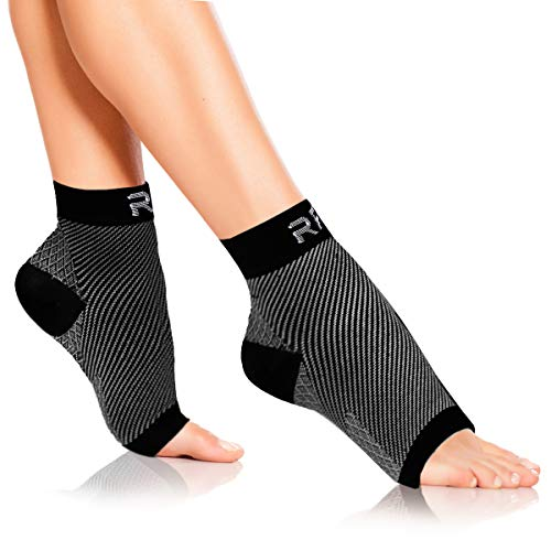 Plantar Fasciitis Foot Compression Sleeves for Injury Rehab & Joint Pain. Best Ankle Brace - Instant Relief & Support for Achilles Tendonitis, Fallen Arch, Heel Spurs, Swelling & Fatigue (Black-LRG)