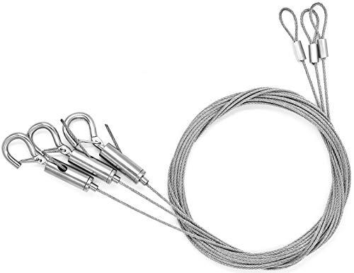 SANTOO 3pz 2 m Fune metallica in filo Acciaio con morsetto gancio, Cavo Acciaio Inox per appendere pannelli, quadri leggeri, insegne e cartelli luminosi, lampade