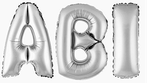 DekoRex ABI Buchstabenballon Abitur 2019 Folienballon Luftballon Heliumballon Deko Silber 100cm