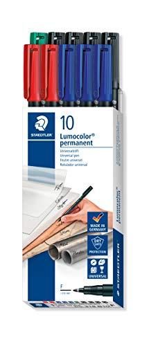 STAEDTLER foliepenna Lumocolor permanent 318 (vattentät, torkfast, torr på några sekunder, F-spets ca 0,6 mm, hög kvalitet tillverkad i Tyskland, set med 10 pennor i 4 färger), 318 B10