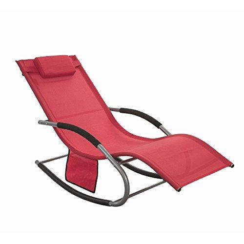 SoBuy® Poltrona Dondolo, Sdraio Relax, Sedia a Sdraio, con poggiatesta, Rosso,OGS28-R,IT