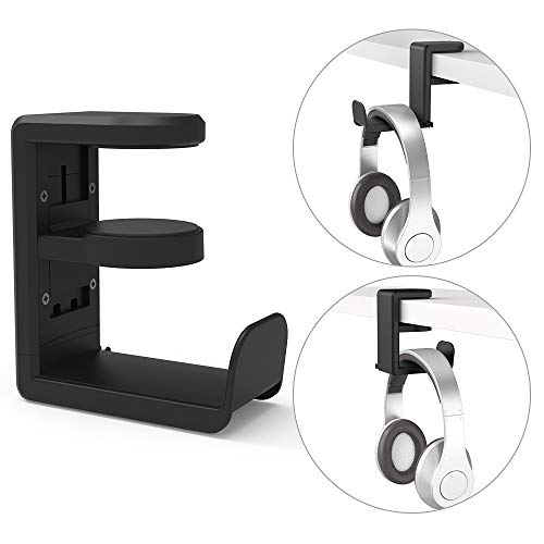 Desk Headphone Hook Hanger, MiiKARE Headset Stand with Cable Organizer and 360 Rotating Arm Gaming Headset Holder Under Desk Fit for All Headphone