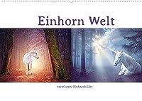 Einhorn Welt - vertraeumte Einhornbilder (Wandkalender 2022 DIN A2 quer): Fabeltier Einhorn, mythologisches Pferd mit Horn. (Monatskalender, 14 Seiten )