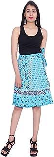 Kastiel Blue Cotton Wrap Printed Sanganeri Jaipuri Skirt for Woman's/Girls