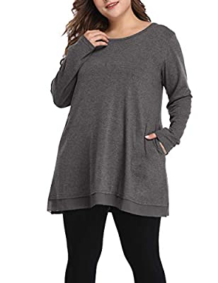 Spring Plus Size Tunic Tops Hidden Pockets Long Flowy Shirts for Women(Grey, 4X)