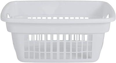 Rubbermaid Through-Handle Laundry Basket, Easy Grab Handle, White, Laundry, Storage, Bathroom, Bedroom, Home Closet Clothe...