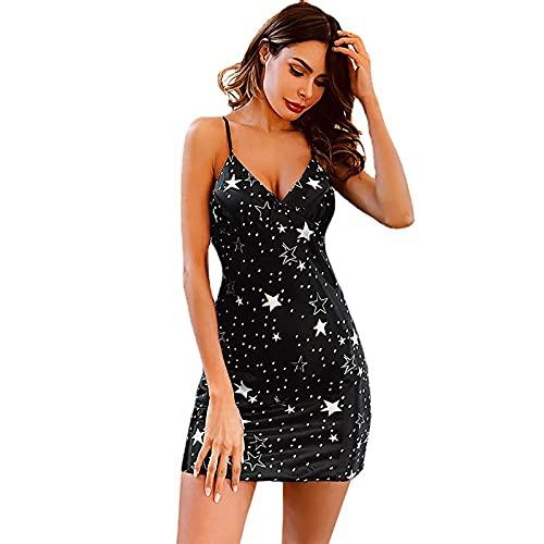 BBZZ La camisón de la suspensión de Las señoras Delgadas de Verano Tiene un Cuello en V Sexy y una Hermosa impresión Estrella,Negro,XL