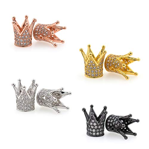 King Crown Charm Spacer Beads,Micro Pave Clear CZ Loose Beads for Mens Original Bracelet Jewelry Making 10Pcs (MixColor)