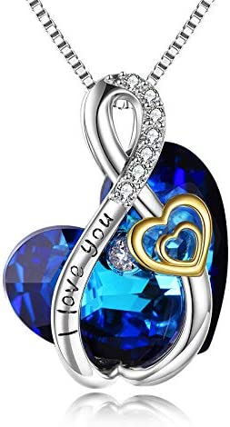 Sterling Silver Blue Infinity Love Heart Engraved Pendant Necklace with Austria Crystals Birthday product image