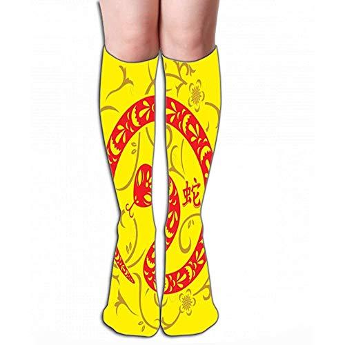 Mannen Vrouwen Outdoor Sport Hoge Sokken Stocking chinese nieuwe jaar slang Prints Tegel lengte 19.7