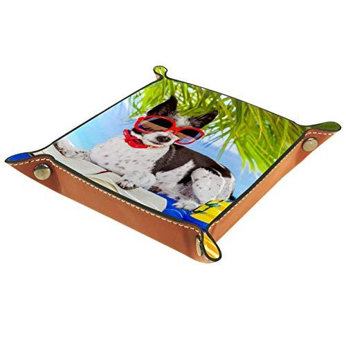 YATELI Caja de Almacenamiento pequeña, Bandeja de Valet para Hombre,Perro Beagle Leyendo en la Playa,Organizador de Cuero para Llaves de Caja de Monedas