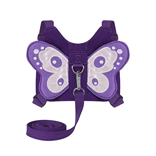 EPLAZA Toddler Walking Safety Harnesses with Leashes Cute Butterfly Anti Lost Wrist Leash for 1.5-3 Years Kid Girls Boys (Purple)