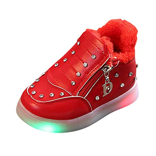 Fainosmny Children Baby Girls Winter Warm Crystal Zip Led Light Luminous Shoes Ankle Booties Flat Shoes Snow Boots