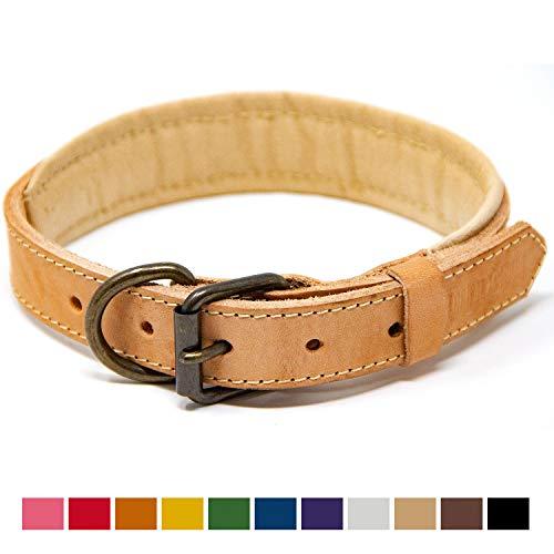 Logical Leather Padded Dog Collar - Best Full Grain Heavy Duty Genuine Leather Collar - Tan - Medium
