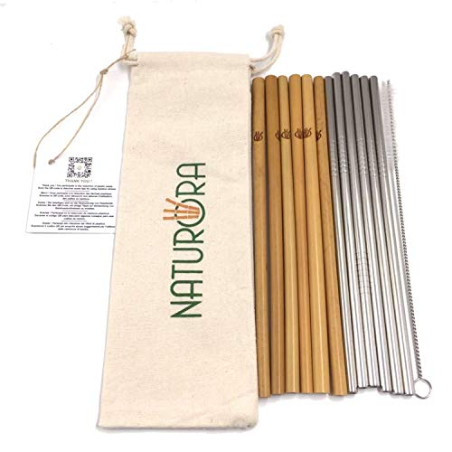 Naturora - Set di 12 cannucce in bambù e 6 in acciaio inox, cannuccia riutilizzabile, bambù 100% naturale, acciaio inox 18/10, qualità alimentare, scovolino e sacchetto in lino