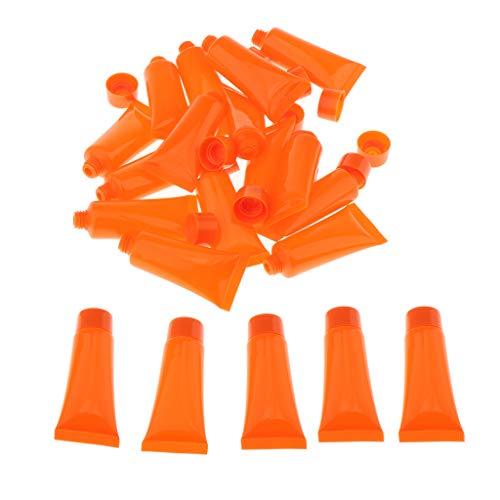 20x 10 ml Flacons de Voyage en Plastique Souple Pour Cosmétique, Gel Douche, Lotion Pour Corps - Orange