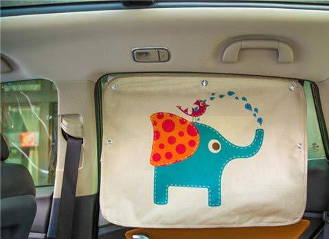 Mayco Bell Car Parabrisas del coche Parasol Sombrillas Cortina Caricatura de carros de estilo Lado trasero Lado posterior Parasol Proteger las cortinas de la ventana para el bebé (Elefante azu