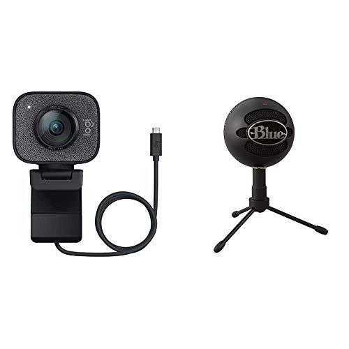 Logitech Streamcam Webcam für Live Streaming und Inhaltserstellung, Vertikales Video in Full HD 1080p bei 60 fps, Smart-autofokus + Blue Snowball iCE USB-Mikrofon zum Aufnehmen und Streamen