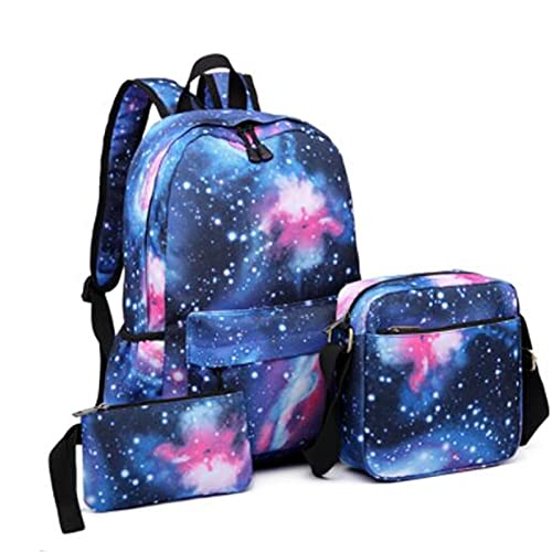 Upupto Mochilas Escolares de niñas establecidas para la Escuela Primaria, Galaxia 3 en 1 Mochila para para niños Adolescentes y niñas Bolsa de Escuela Resistente al Agua Mochila,Azul