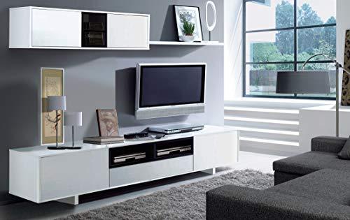 Parete Attrezzata Mobile TV Mobile Sala da Pranzo in Legno Dal/ì Parete Attrezzata Soggiorno Salotto Bianco e Grigio Cenere