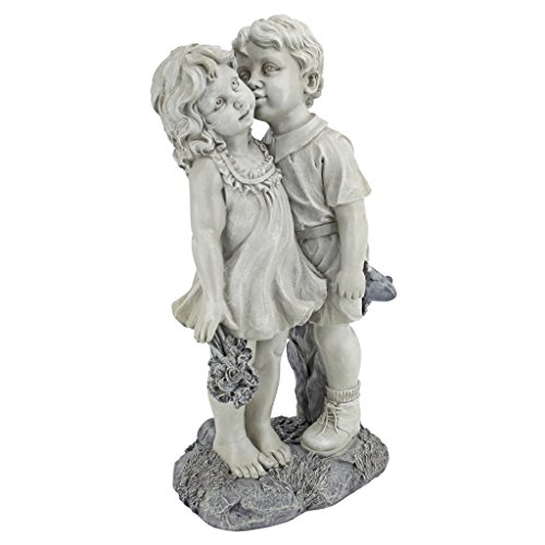 Design Toscano NG30739 jovem corações beijando crianças ao ar livre jardim estátua, 55 cm, dois tons pedra
