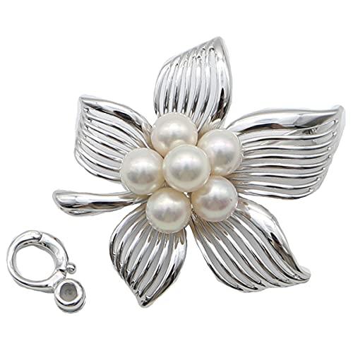 真珠 パール ブローチ あこや真珠 ブローチ アコヤ真珠 デザイン ホワイトピンクカラー 6.5mm-7mm 6pcs 卒業式 入学式 式典 ペンダント兼用 2ウエイ