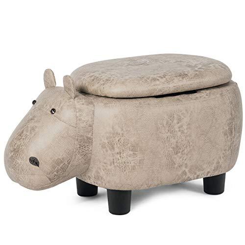GYMAX. Reposapiés de animales, cojín acolchado otomano con tapa abatible, patas antideslizantes, puffe reposapiés para niños y adultos (hipopótamo blanco)
