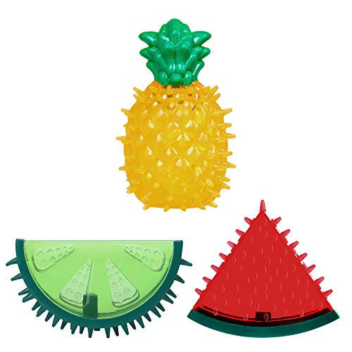 Bittudy Rubber Squeaky Dog Toy Latex Pineapple Squeak Dog Toy Teething Dog Toy for Puppy Small Medium Large Dogs 3pcs