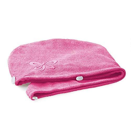 Jemako Haarturban Einheitsgröße pink Turban Haartrockentuch Handtuch Trocknen Handtücher Schnelltrocknend Saugfähiges Haar Wrap Kinder Mädchen Frauen