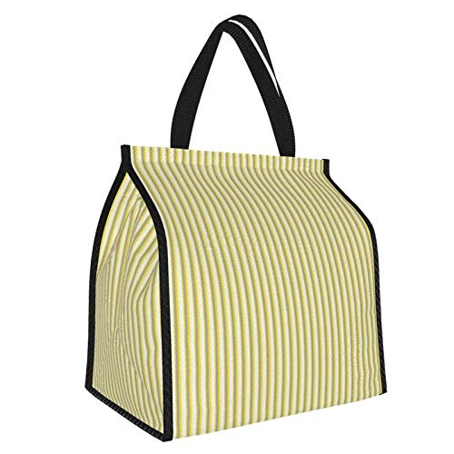 Grey And Yellow Circus Tent Inspired Vintage Retro Stripes Modern Image Es Light Yellow Beige And White Large Insulated Cooler Bag Picnic Freezer Bag 30l, Freezer Bagpicnic Camping Beach Tour Bbq