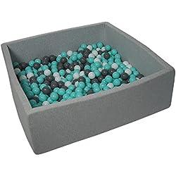 Velinda Piscine a Balles pour Enfant, Dimensions:120x120 cm, Aire de Jeu + 600 Balles (Couleurs des Balles: Blanc, Gris, Turquoise)