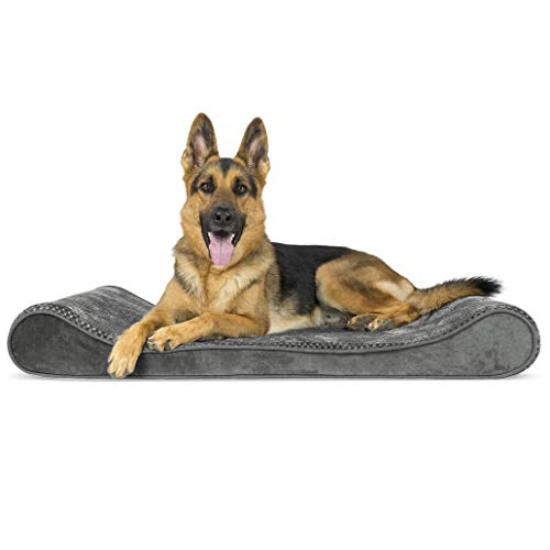 Furhaven Pet Dog Bed - Orthopedic Minky Plush and Velvet Ergonomic Luxe Lounger Cradle Mattress Contour Pet Bed with Removable Cover for Dogs and Cats, Gray, Jumbo