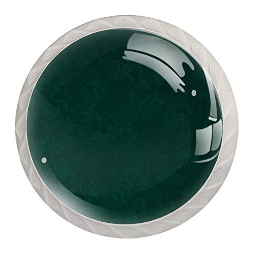 Paquete de 4 pomos redondos blancos para gabinete de cocina, para dormitorio, armario y aparador, cajones de pared verde